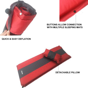 Self Inflating Camping Roll Mat with Buttons to Attach Multiple Mats