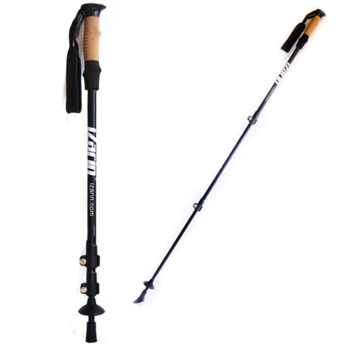 Hiking poles showing normal and extended view