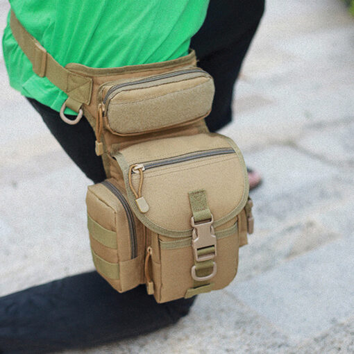 Man close-up on waist drop belt leg bag - tan