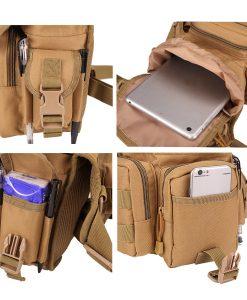 waist drop belt leg bag - tan - pocket features