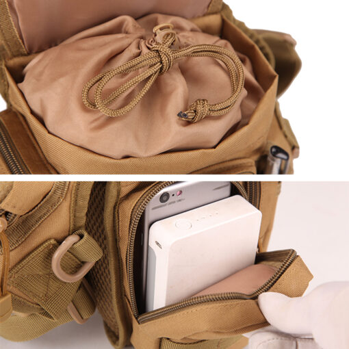 waist drop belt leg bag - tan - pocket holding phone