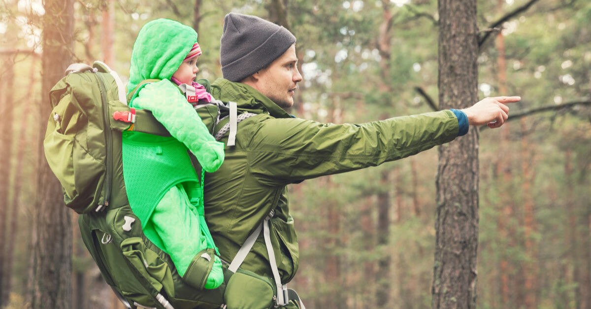 How to Hike with a Toddler - Father and Child in Carrier Walking