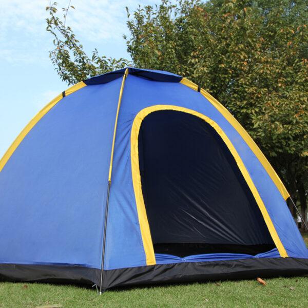Front view open door of camping tent