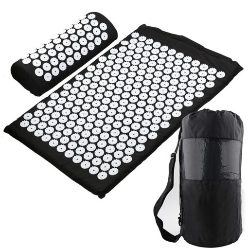Acupressure Mat, Pillow & Bag - Black